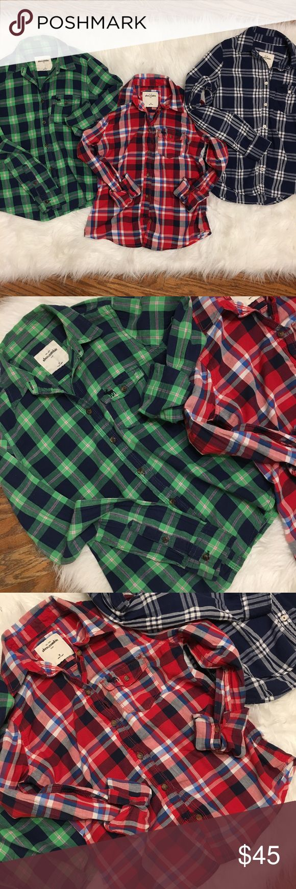 Abercrombie girls Button Down Shirt Bundle Girls plaid button down tops in excellent condition! All size medium. abercrombie kids Shirts & Tops Button Down Shirts