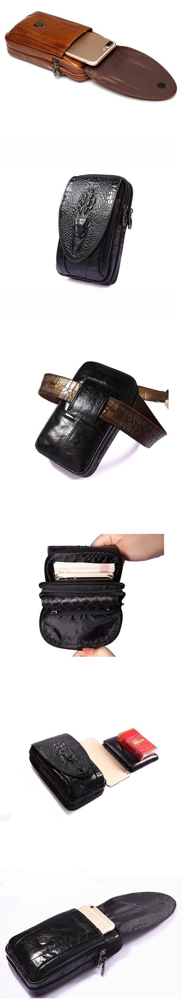 4.7 a 6 pulgadas de la bolsa del teléfono celular de cuero genuino impermeable paquete de la cintura para los hombres