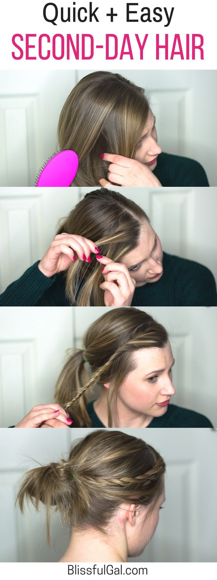 Easy Second-Day Hairstyle- Lazy Girl Hair – Blissful Gal #Easyhairstyles