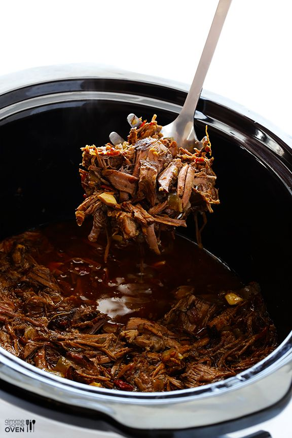 Barbacoa Beef -- tender, flavorful, and made extra easy in the slow cooker   gimmesomeoven.com #crockpot #slowcooker