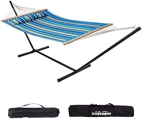 450 lb Capacity-Premium Carry Bag Included C9POLY10 Vivere Double Polyester Hammock with Space Saving Steel Stand, 1 Pack Ciao with Charcoal Frame