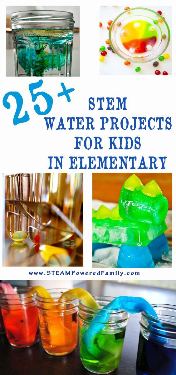25+ STEM Water Projects for Kids in Elementary - Learn, educate, grow with nature's favourite drink... water! States of matter, density, chemistry, engineering and more. via /steampoweredfam/