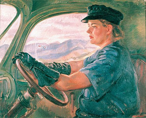 """""""Transport driver (Aircraftswoman Florence Miles)"""" by Nora Heysen. Her portraits of women were uncompromising in their authority. In this portrait Heysen combines the heroic with the everyday stoicism of women who just get on with the job. Florence Miles inspires confidence; she is feminine and strong. Her committed gaze through the windscreen together with the RAAF flag, visible through her window, play like a confident anthem on the road to the allies' victory."""