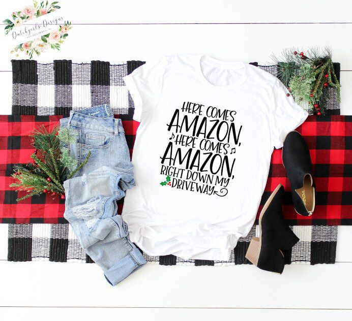 b92d32337 Excited to share this item from my #etsy shop: Amazon Shirt /Women's  Christmas Shirt / Funny Christmas Shirt / Here Comes Amazon Shirt /  Christmas Gift / ...