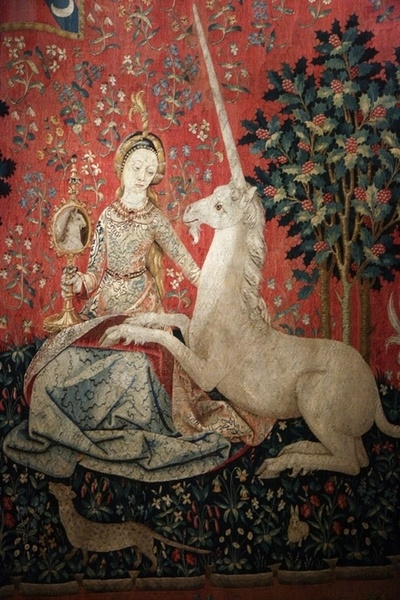 "Detail of the ""Sight"" scene of the Lady and the Unicorn (Dame à la Licorne) tapestry"