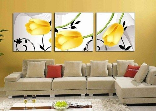 MODERN ABSTRACT HUGE WALL ART OIL PAINTING ON CANVAS Yellow Tulips $69.99