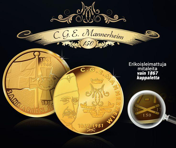Mannerheimin syntymästä on tullut kuluneeksi tasan 150 vuotta. Juhlan kunniaksi tarjoamme nyt Sankarien johtaja –mitalin juhlavuoden erikoisleimalla, jossa on kaksi ristikkäistä marsalkansauvaa.