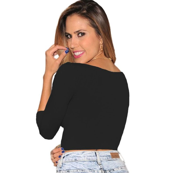 New Autumn long sleeve T shirt Women Black White Green Bodycon Shirts Short Tee Shirt Crop Top Casual T-shirt tops (6)