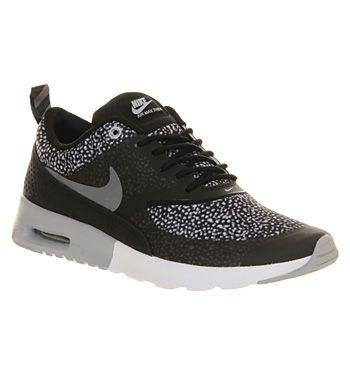 Nike Air Max Thea Black Wolf Grey White Print - Hers trainers