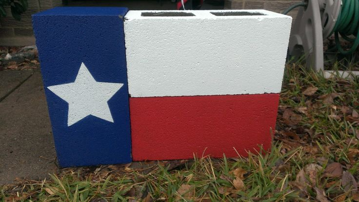 Texas Flag from cinder blocks