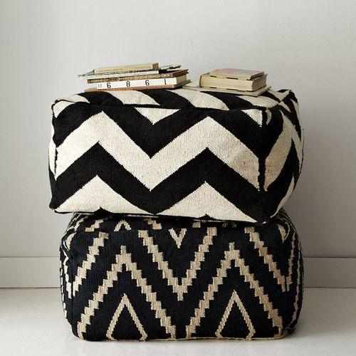black & white poufs | THE STYLE FILES