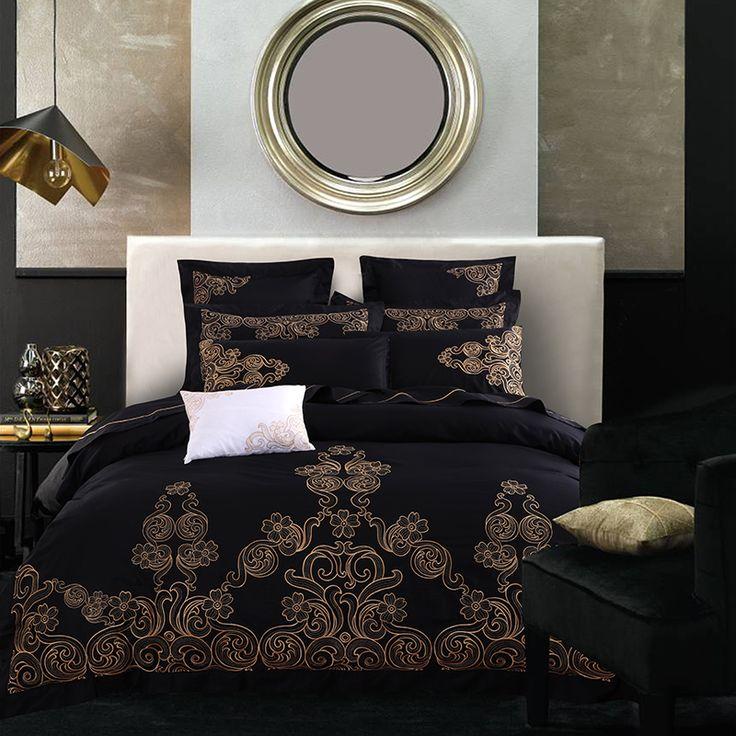 luxury Long Staple Cotton Embroidery Black Classics Bedding Set Duvet Cover Bed Linen Bed sheet Pillowcase King Queen 4/6/8/9pcs #Affiliate