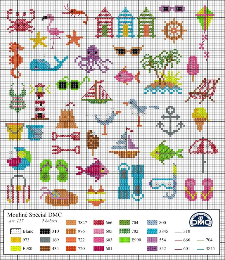 Great collection of small cross stitch patterns. El blog de Dmc: Diagramas veraniegos de punto de cruz