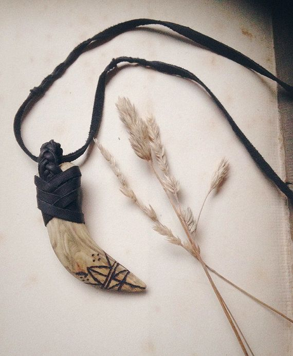fang  viking necklace  wooden tooth necklace  rustic by gorimbaud