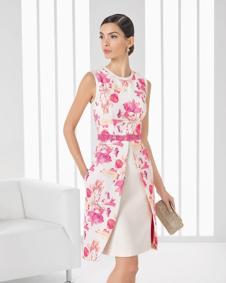 Vestido de pique estampado y pedreria corto. Colección 2016 Rosa Clará Cocktail