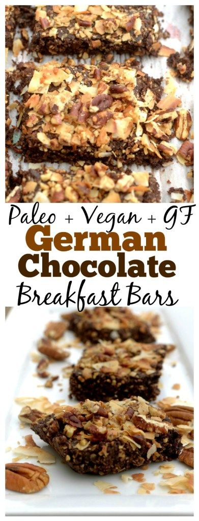 Have your cake and eat it too, for breakfast! These Paleo and Vegan German Chocolate Cake Breakfast Bars are super simple to make and are the perfect grab n' go breakfast!