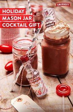 DIY Holiday gifts don't have to be complicated. Whether you celebrate Christmas, Kwanza, or Hanukah, this cute Peppermint Twist and cocoa mason jar cocktail is the best holiday stocking stuffer or white elephant present.   DIY Mini Cocoa Canisters:  Fill a mini mason jar with one packet of hot cocoa mix and attach a 1.5oz Smirnoff Peppermint Twist bottle. Your gift-getter just needs to add hot water and a little whipped cream for the perfect holiday hot chocolate cocktail.