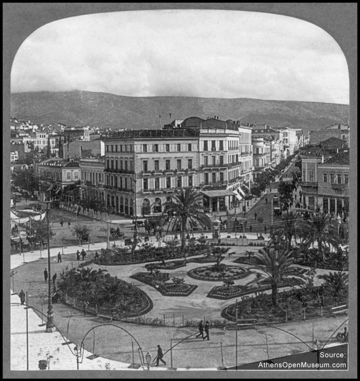 Η πλατεία Ομόνοιας με φοίνικες και παρτερια το 1907