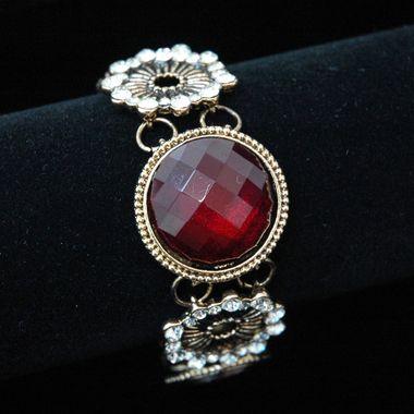 Gold Sunburst Bracelet w/ Colored Stone & Rhinestone Accents - Red - Kuku Closet $22.00 http://www.kukucloset.com/