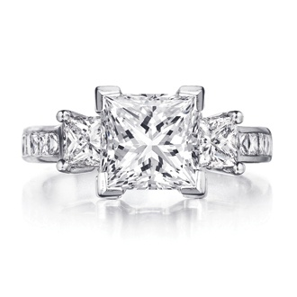 Princess Cut three stone diamond engagement ring. Ingwer at George Simons & Son.