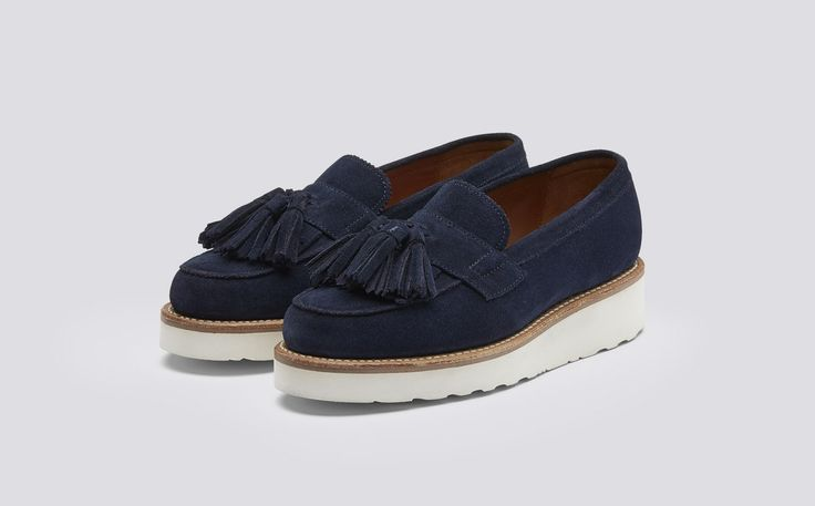 Clara | Womens Loafer in Navy Suede with a White Wedge Sole | Grenson Shoes - Three Quarter View