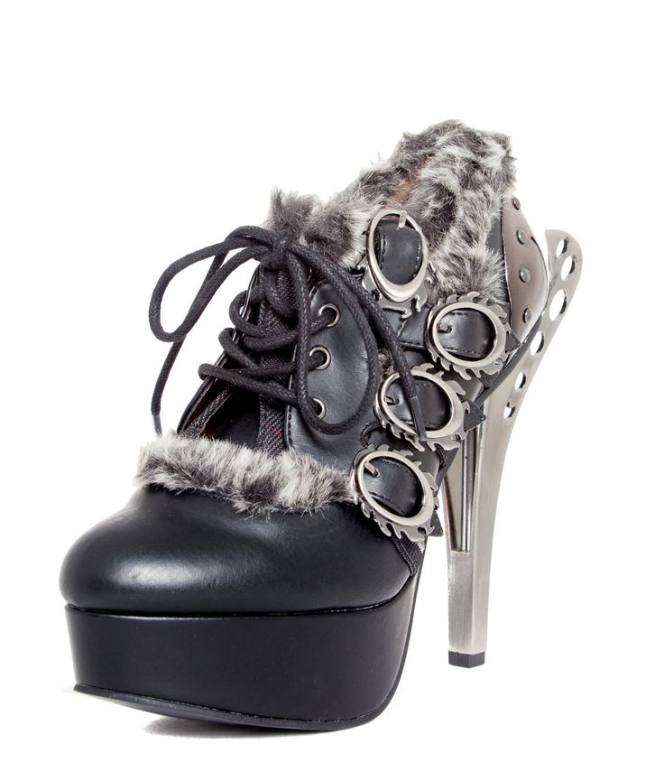Hades Monarch Black Metal High Heel Shoes