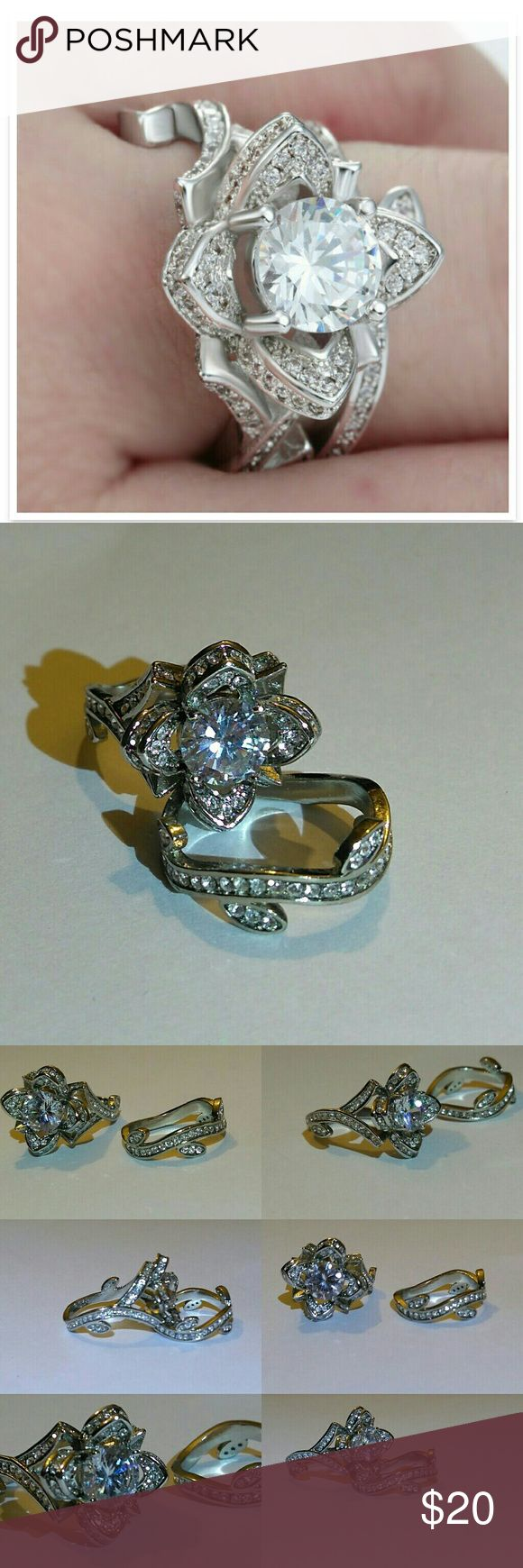 White Topaz Silver Lotus Engagement Ring Set 2pcs Set 925. Sterling Silver All Stones are Lab created Sparkling White Topaz Filigree Ring  Lotus flower Ring with stem like band with leaves Fashion Jewelry Size 7  Perfect holiday gift Radiant Sparkle  💯 Brand New High Quality 💯 What u see is what u get 🚫 No trades Jewelry Rings