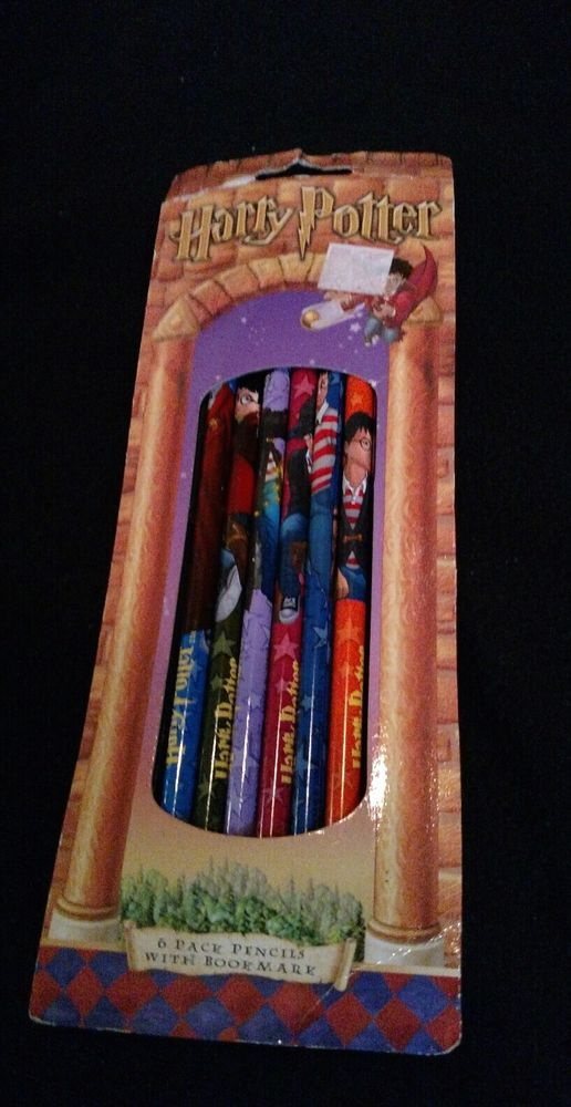 2001 HARRY POTTER PACKAGE of 6 pack PENCILS with BOOKMARK & bonus Postcard Book