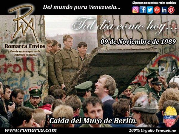 Tal día como hoy en 1989 cayó el Muro de Berlín, 28 años después de su construcción. Fue un muro de seguridad que formó parte de la frontera interalemana,  que separó la zona de la ciudad berlinesa encuadrada en el espacio económico de la República Federal de Alemania de la capital de la RDA entre esos años. #RomarcaEnvios #Venezuela #Alemania #TalDiaComoHoy