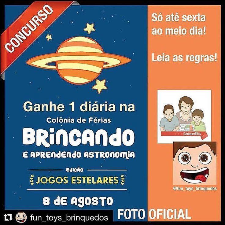 Mora no Rio e está em busca de uma atividade super legal para as férias escolares?   O perfil @maecomfilhos e a @fun_toys_brinquedos tem um presente para os leitores!   Concorra a uma diária da Colônia de Férias que acontece no Planetário do Rio de Janeiro!  PARA PARTICIPAR: 1. siga o @maecomfilhos e o @fun_toys_brinquedos no Instagram 2. curta a imagem oficial com a #ConcursoJogosEstelares 3. comente marcando dois amigos aqui na foto oficial e nos conte porque gostaria de ganhar a diária…
