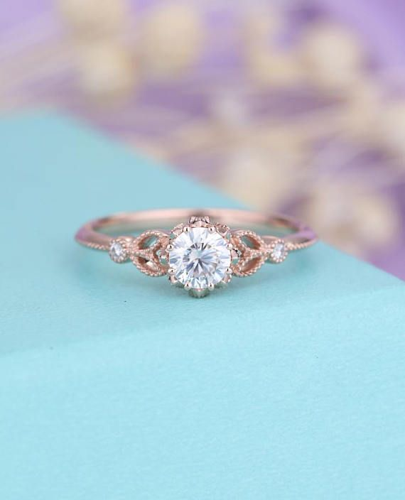 Moissanite Verlobungsring Rose Gold Verlobungsring Vintage Cool