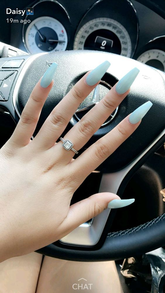 Light baby blue Nails. Are you looking for acrylic coffin nail color designs for fall and winter? See our collection full of cute acrylic coffin nail color design ideas and get inspired!