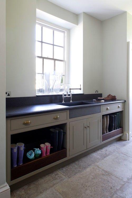 New bespoke boot room, Gloucestershire, UK. Artichoke kitchen and bath designers, London.