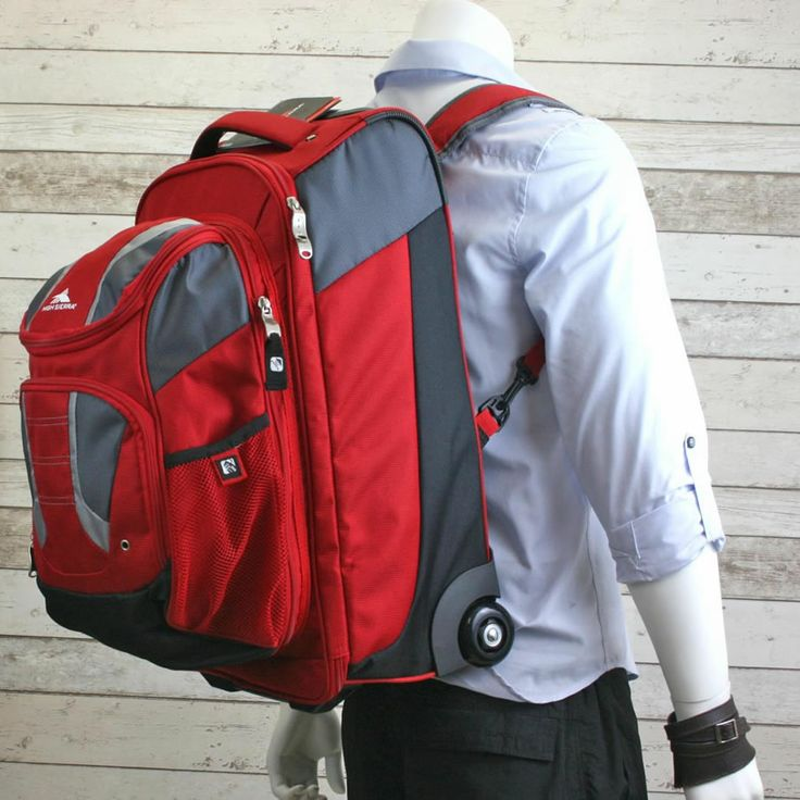 High Sierra Freel Red Travel Backpack with Wheels.