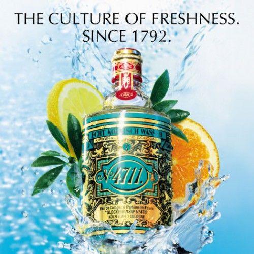 4711 Original Eau de Cologne van Maurer & Wirtz is een aromatische citrusgeur voor vrouwen en mannen en werd in 1792 gelanceerd.Bergamot, citroen en sinaasappel zorgen voor een uniek verkwikkend effect. Lavendel en rozemarijn hebben een kalmerende en ontspannende werking. Neroli, gewonnen uit de bloesem van de bittere sinaasappel,  creëert een positieve stemming. ParfumCenter.nl