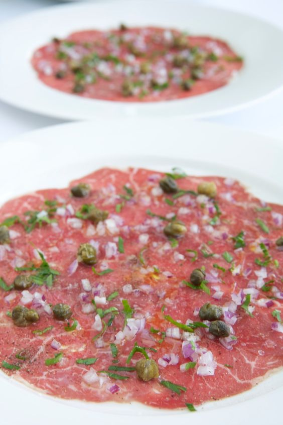 Beef Carpaccio with Capers, Parsley and Truffle Oil: