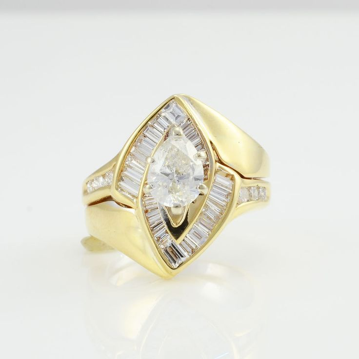 VVS2 Pear Shaped Diamond Ring - Teardrop Diamond Ring - Yellow Gold Center Diamond Engagement Ring - Pear Diamond Engagement Ring by SolvangAntiques on Etsy