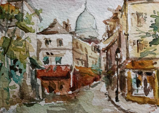 Paris montmartre watercolour painting by Christy Obalek.  ACEO size (trading card): 2.5x3.5""