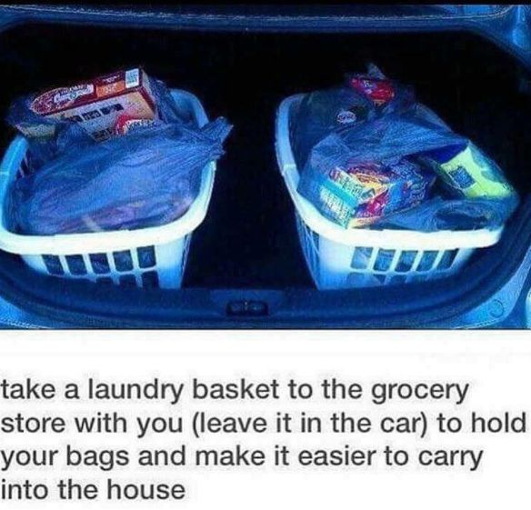 Tired of making multiple trips bringing in groceries? Keep one or two laundry baskets in your trunk.