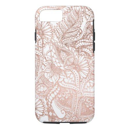 Modern rose gold foil hand drawn floral pattern iPhone 7 case - click to get yours right now!