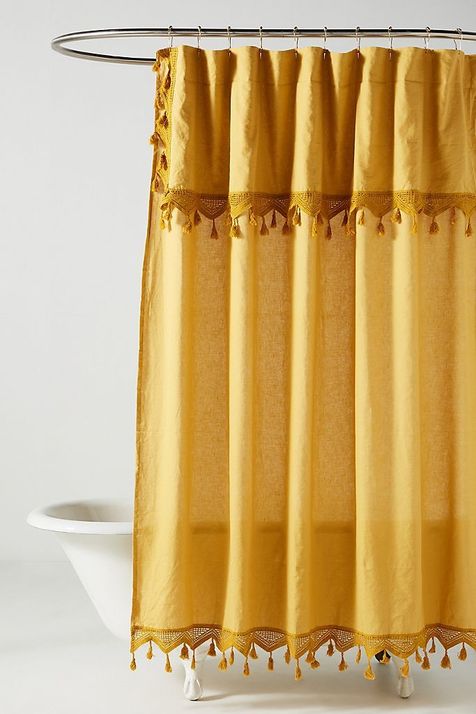 Shower Curtain, Yellow And White Shower Curtains