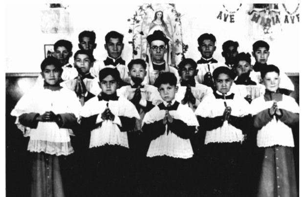 Photograph of a group of altar boys at St. Anne's Indian Residential School in Fort Albany, Ont.