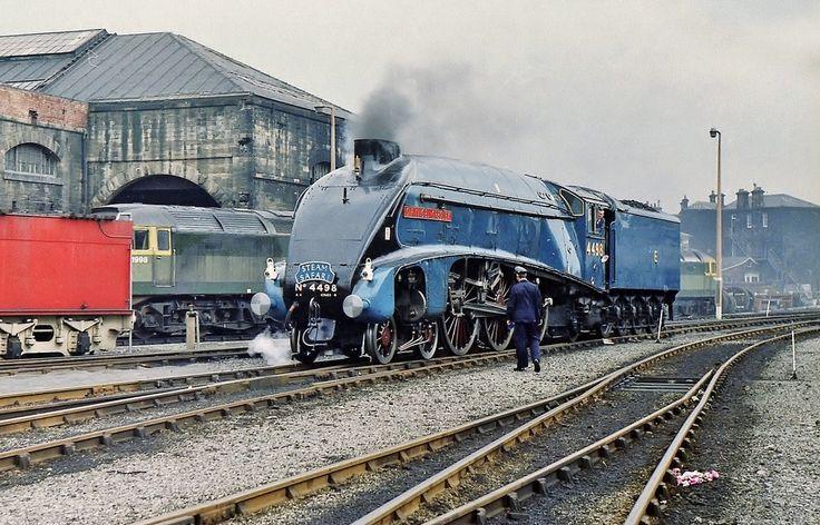 A4 Class 4-6-2 Pacific No. 4498 'Sir Nigel Gresley' At Gateshead Depot (52A) - 'Steam Safari' Railtour - 17th June 1972. Photo by Allan McKever