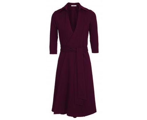 Dressfactor W-lijn overslag jurk aubergine