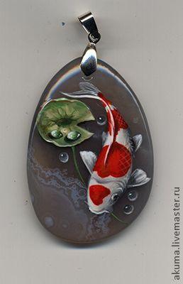 Кулоны, подвески ручной работы. Ярмарка Мастеров - ручная работа кой в кружевах. Handmade. koi fish: