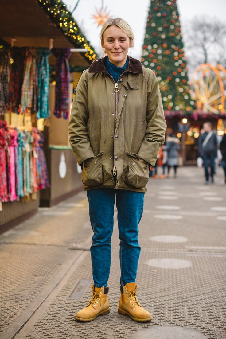 We spotted Lucy on a chilly afternoon at Winter Wonderland - wearing her Barbour Wax Jacket!
