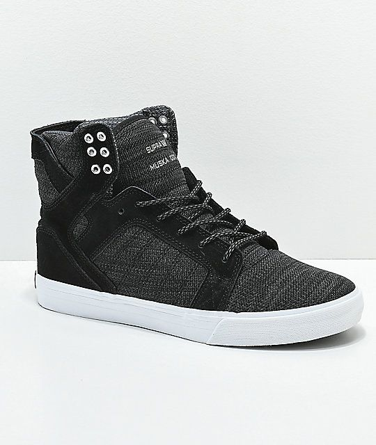 ca8c68779dc Supra Skytop Reflective Black & Charcoal Skate Shoes in 2019 | A ...