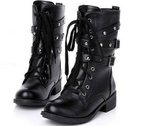 bota coturno feminino rock militar punk