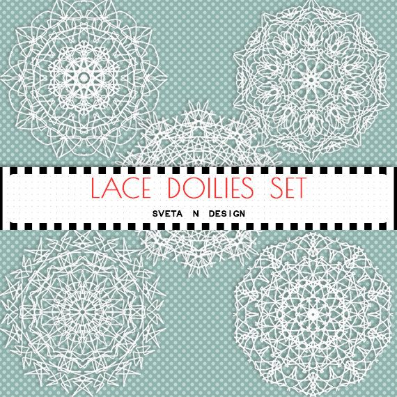 Lace Doilies Digital Clipart 5 psc - Instant Download {doily lace clipart, clip art, white, digital lace, lace clipart, lace digital}