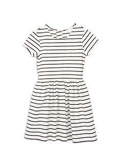 Girlswear Striped Ponti Skater Dress Black Ink dress